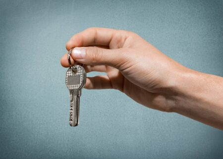 two object: Key, Moving House, Real Estate. Stock Photo