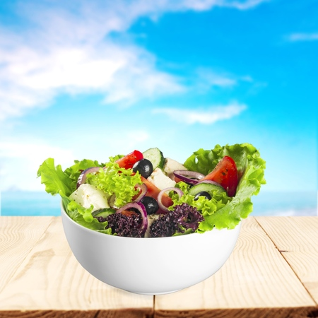 greek chef: Salad, organic, light. Stock Photo