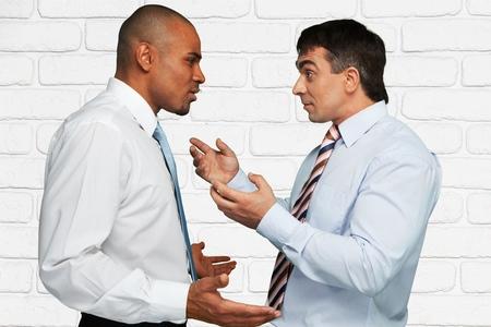 conflicto: Discutir, Conflicto, Negocio. Foto de archivo