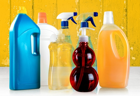 chemical bottle: Cleaning, Chemical, Bottle. Stock Photo