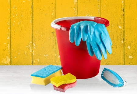 latex: Cleaning, House, Bucket. Stock Photo