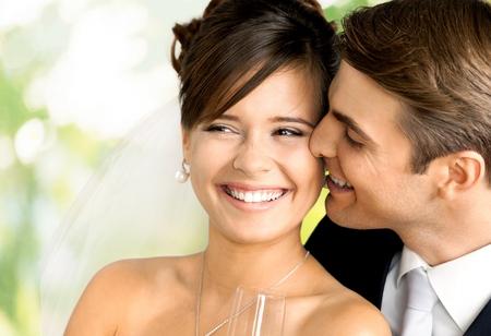 newlywed couple: Wedding, Bride, Couple.