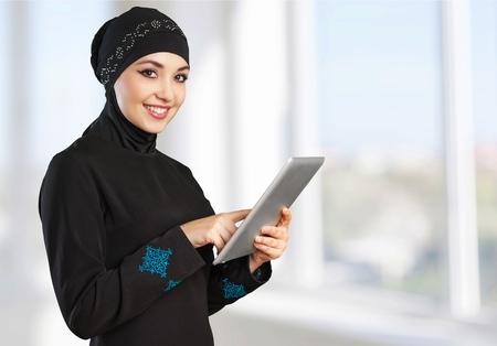 hijab: Woman, hijab, isolated. Stock Photo