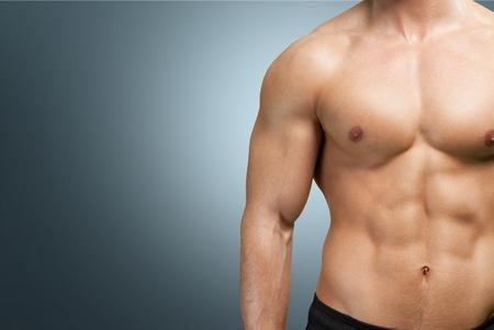 nude male body: Men, Abdominal Muscle, Male. Stock Photo