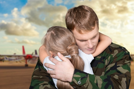military men: Armed Forces, Military, Embracing. Stock Photo