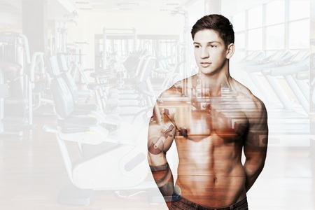 body conscious: Exercising, Weightlifting, Weight Training. Stock Photo