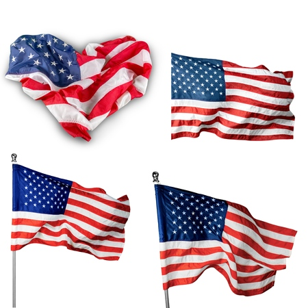antiqued: Flag, heart, american. Stock Photo