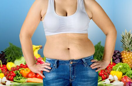 lose weight: Fat, overweight, stomach. Stock Photo