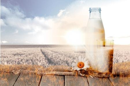 verre de lait: Lait, verre, bouteille de lait.