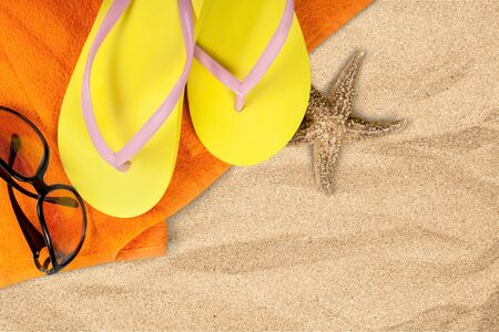 recreational pursuits: Beach, Sand, Flip-flop.