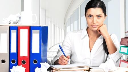 Emotional Stress, Office, Women. Stock Photo