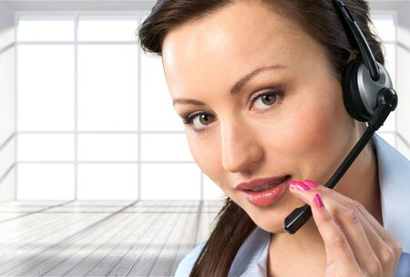 handsfree telephone: Support, Touching, Connection. Stock Photo