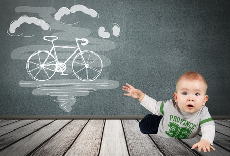 two people only: Baby, Crawling, Babies Only. Stock Photo