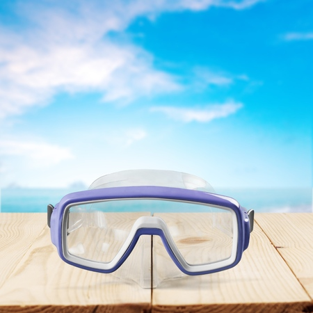 diving equipment: Scuba Mask, Diving Equipment, Deep-Sea Diving. Stock Photo