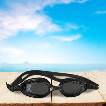 swimming goggles: Swimming Goggles, Isolated, Water. Stock Photo