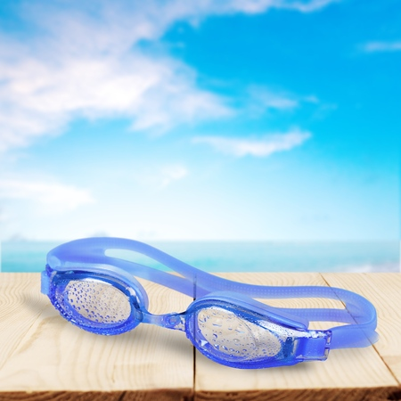 pursuits: Swimming Goggles, Blue, Isolated.