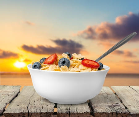 cereal bowl: Cereal, Bowl, Isolated.