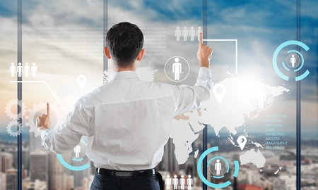 virtual world: Network, map, business. Stock Photo