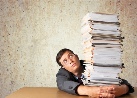 file clerk: Stack, Red Tape, Paper.