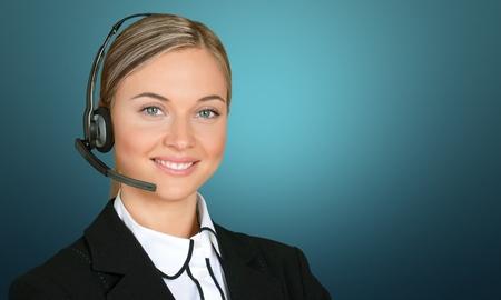 サービス、カスタマー サービス担当者、女性。