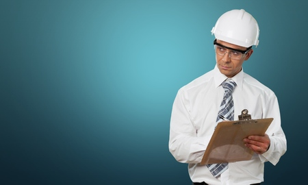 quality control: Inspector, osha, Clipboard. Stock Photo