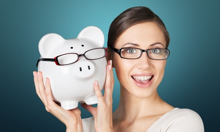 Glasses, save, savings. Stock Photo