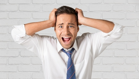 displeased: Frustration, Men, Displeased. Stock Photo