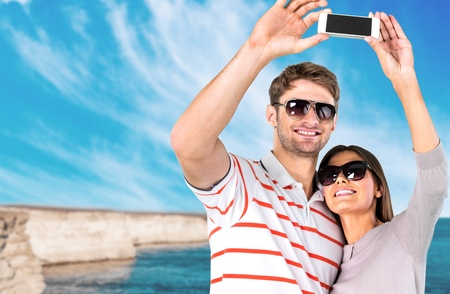 lovely couple: Travel, travellers, holidays. Stock Photo