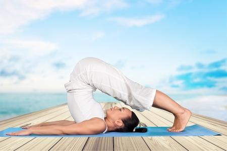 woman posture: Yoga, Flexibility, Women. Stock Photo