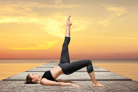 yogic: Yoga, woman, stretching.