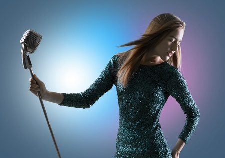 melody: Singer, posture, melody. Stock Photo