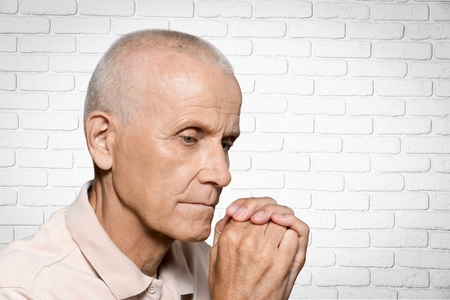 old man on a physical pressure: Senior Adult, Nursing Home, Alzheimers Disease. Stock Photo