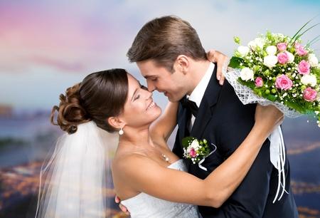 Wedding, Couple, Heterosexual Couple. Stock Photo