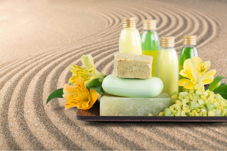 grooming product: Bar Of Soap, Spa Treatment, Cosmetics. Stock Photo
