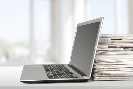 Newspaper, Magazine, Computer. Stock Photo