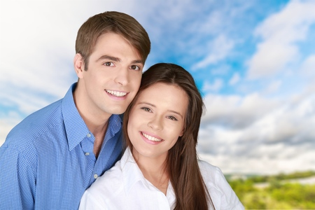 Smiling, Heterosexual Couple, Men. Stock Photo