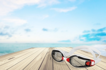 recreational pursuits: Swimming Goggles, Isolated, Water. Stock Photo