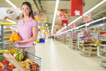 Supermarket, Men, Shopping.