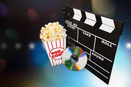 entertainment background: Movie, DVD, Film Industry. Stock Photo