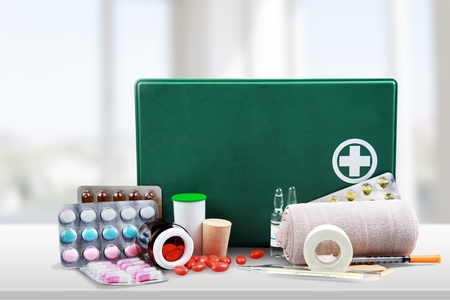 first aid box: First Aid Kit, First Aid, Bandage. Stock Photo