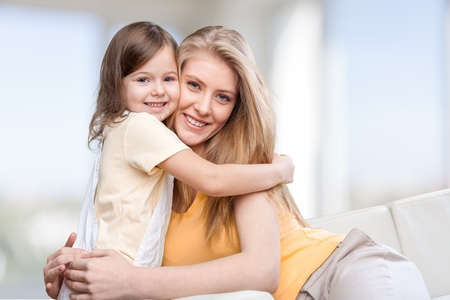 daughter mother: Mother, daughter, bio. Stock Photo
