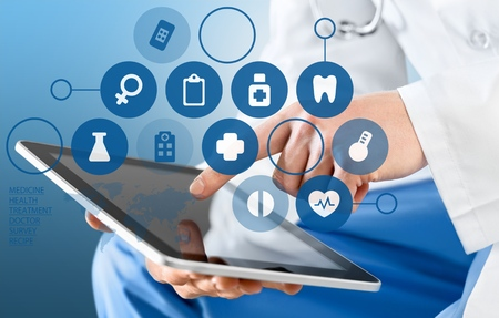 health technology: Medical, touch, doctor. Stock Photo
