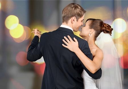 huwelijk: Bruiloft, Dansen, Bruid. Stockfoto
