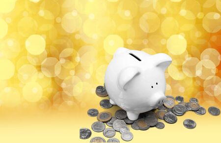 coin bank: Piggy Bank, White, Coin.
