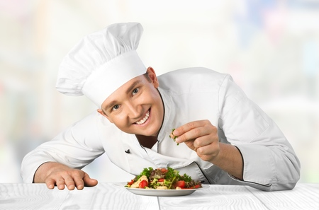 turkish ethnicity: Chef, Cooking, Restaurant. Stock Photo