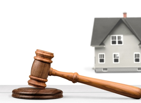 house exchange: Auction, Law, House. Stock Photo