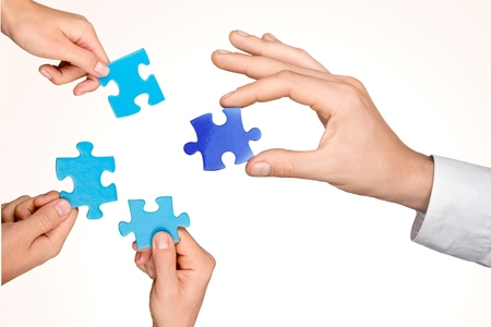 cooperación: Trabajo en equipo, Cooperación, Pieza de rompecabezas.
