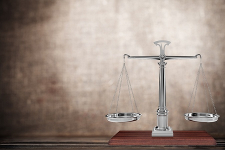 both sides: Weight Scale, Law, Stability. Stock Photo