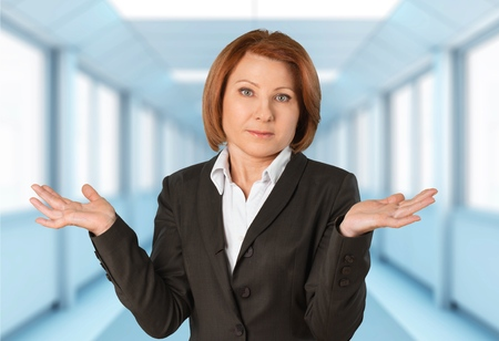 woman hands up: Confusion, Women, Gesturing. Stock Photo