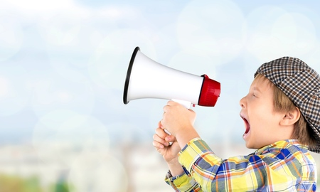 Kid, publicity, shout. Imagens